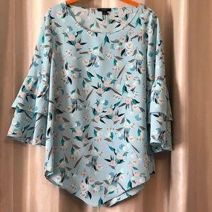 Alfani Light mint color/light blue floral blouse.